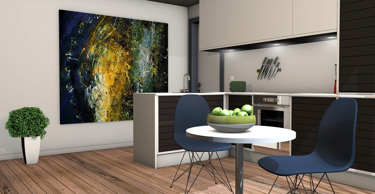 Für zwei Personen bietet diese Küche ausreichend Stauraum und Arbeitsfläche.